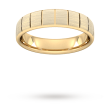 5mm D Shape Standard Vertical Lines Wedding Ring In 18 Carat Yellow Gold