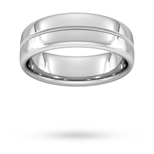 7mm Slight Court Heavy Milgrain Centre Wedding Ring In 9 Carat White Gold