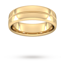 7mm Slight Court Heavy Milgrain Centre Wedding Ring In 18 Carat Yellow Gold