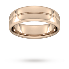 7mm Slight Court Heavy Milgrain Centre Wedding Ring In 18 Carat Rose Gold