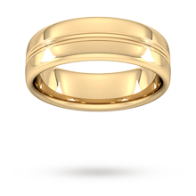 7mm Slight Court Heavy Grooved Polished Finish Wedding Ring In 18 Carat Yellow Gold
