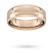 7mm Slight Court Heavy Grooved Polished Finish Wedding Ring In 18 Carat Rose Gold