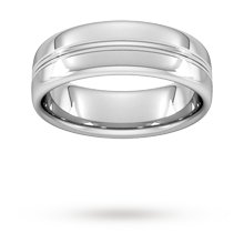 7mm Slight Court Heavy Grooved Polished Finish Wedding Ring In Platinum