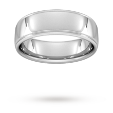 7mm Slight Court Heavy Polished Finish With Grooves Wedding Ring In 18 Carat White Gold