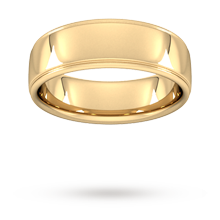 7mm Slight Court Heavy Polished Finish With Grooves Wedding Ring In 18 Carat Yellow Gold