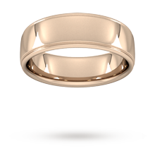 7mm Slight Court Heavy Polished Finish With Grooves Wedding Ring In 18 Carat Rose Gold